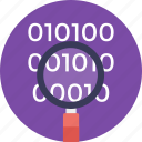 binary code with magnifier, binary data search, code search, database search, exploring icon