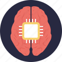artificial intelligence, brain processor, computer interface brain, computerized brain, humanoid icon