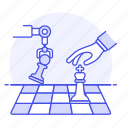 machine, tactical, chess, intelligence, artificial, logic, ai, arm, analysis, robot, game, learning icon