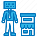 ai, artificial, business, intelligence, shop icon