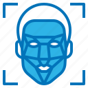 ai, artificial, facial, intelligence, recognition, scan icon