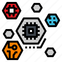 chip, data, digital, hexagon, processor icon