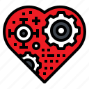 heart, metal, gear, robot