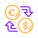 business, currency, dollar, euro, exchange, finance, financial, money icon