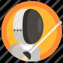 avatar, boy, fencing, man, sport icon
