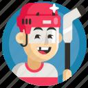 avatar, boy, hockey, man, sport icon