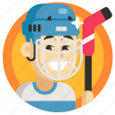 avatar, boy, goalkeeper, hockey, man, sport icon