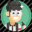 avatar, boy, hockey, judge, man, sport icon