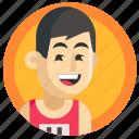 avatar, boy, man, run, running, sport icon