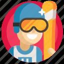 avatar, boy, man, skiing, sport icon