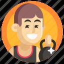 avatar, boy, man, powerlifting, sport, weightlifter icon