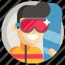 avatar, boy, man, snowboarding, sport icon
