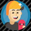 avatar, boy, man, skateboard, sport icon