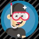 avatar, boy, diving, man, sport icon