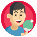 avatar, boy, man, ping-pong, sport icon
