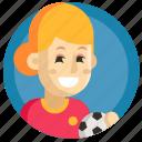 avatar, football, girl, soccer, sport, woman icon
