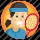 avatar, girl, sport, tennis, woman icon