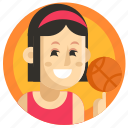 avatar, basketball, girl, sport, woman icon