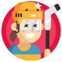 avatar, girl, hockey, sport, woman icon