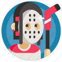 avatar, girl, goalkeeper, hockey, sport, woman icon
