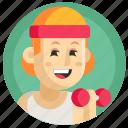 avatar, girl, gym, gymnast, sport, woman icon