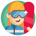 avatar, girl, snowboarding, sport, woman icon