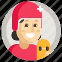 avatar, girl, skateboard, sport, woman icon