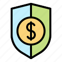 finance, money, protection, safety, secure, shield icon