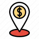 financial, investment, landmark, location, pin icon