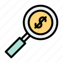 financial, loupe, magnification, magnifying glass, money, search icon