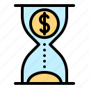chance, clock, financial, hourglass, money, time icon