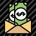 cash, envelope, financial, letter, mail, money icon