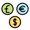 currency, dollar, euro, exchange, financial, money, pound icon