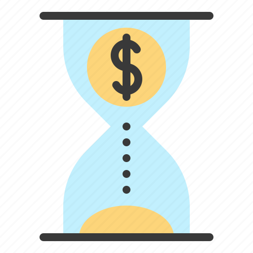 chance, clock, hourglass, money, time icon