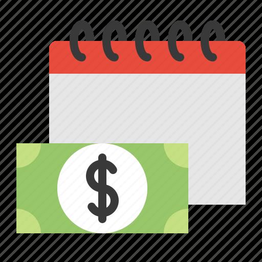 business, calendar, date, due date, money icon