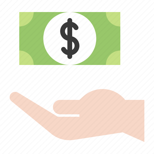 banknote, dollar, hand, money, payment icon