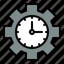 clock, cogwheel, gear, money, time icon