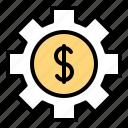 asset, cogwheel, gear, money