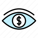 dollar, earning, money, sight, vision, visualize