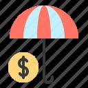 coin, finance, insurance, money, protect, umbrella icon