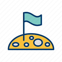 flag, flag at moon, moon, space icon