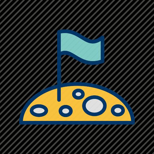flag, flag at moon, flag on moon, location, moon icon