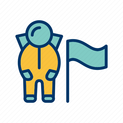 astronout, flag, space, spaceman, universe icon