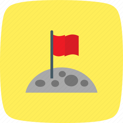 flag, flag at moon, flag on moon, moon icon