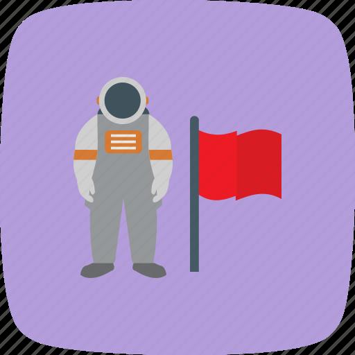astronaut, flag, moon, spaceman icon