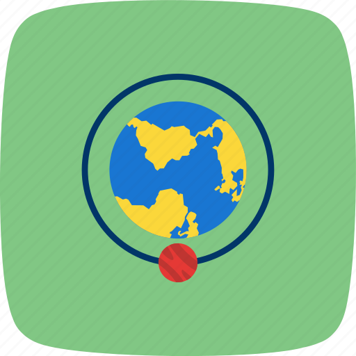 around the earth, orbit, orbit around earth, planet, solar system icon