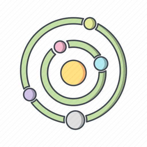 galaxy, planets, solar system, space, spaceship icon