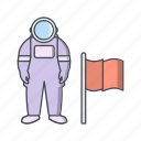 astronout, man with flag, space man icon