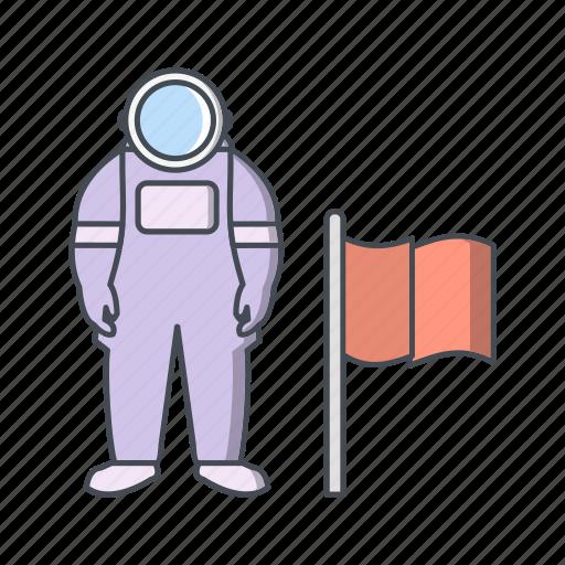 astronaut, astronomy, cosmonaut, man with flag, space man icon
