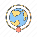 around the earth, orbit, orbit around earth icon